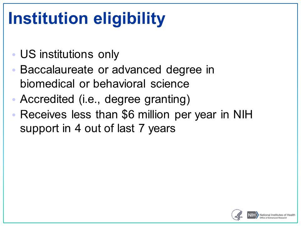 Institution eligibility