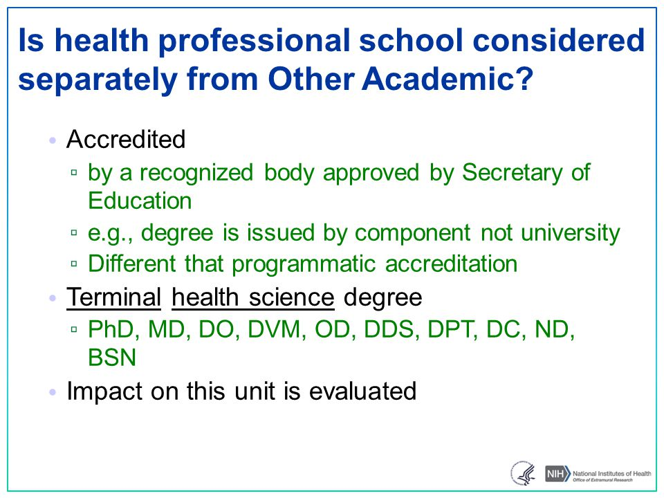 Is health professional school considered separately from Other Academic