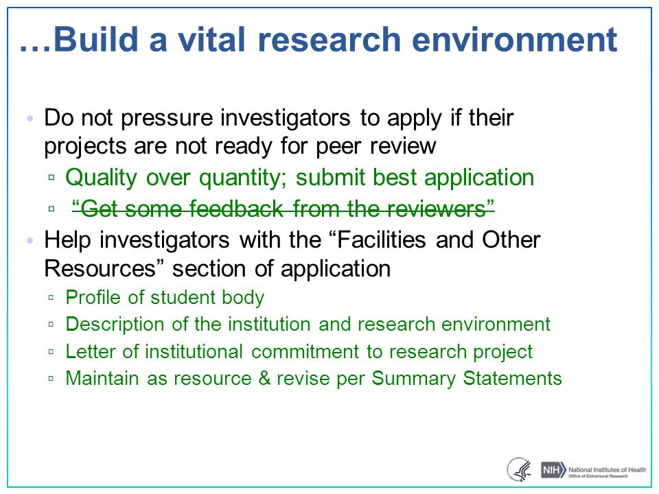 …Build a vital research environment