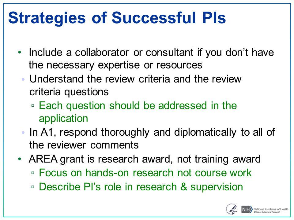 Strategies of Successful PIs