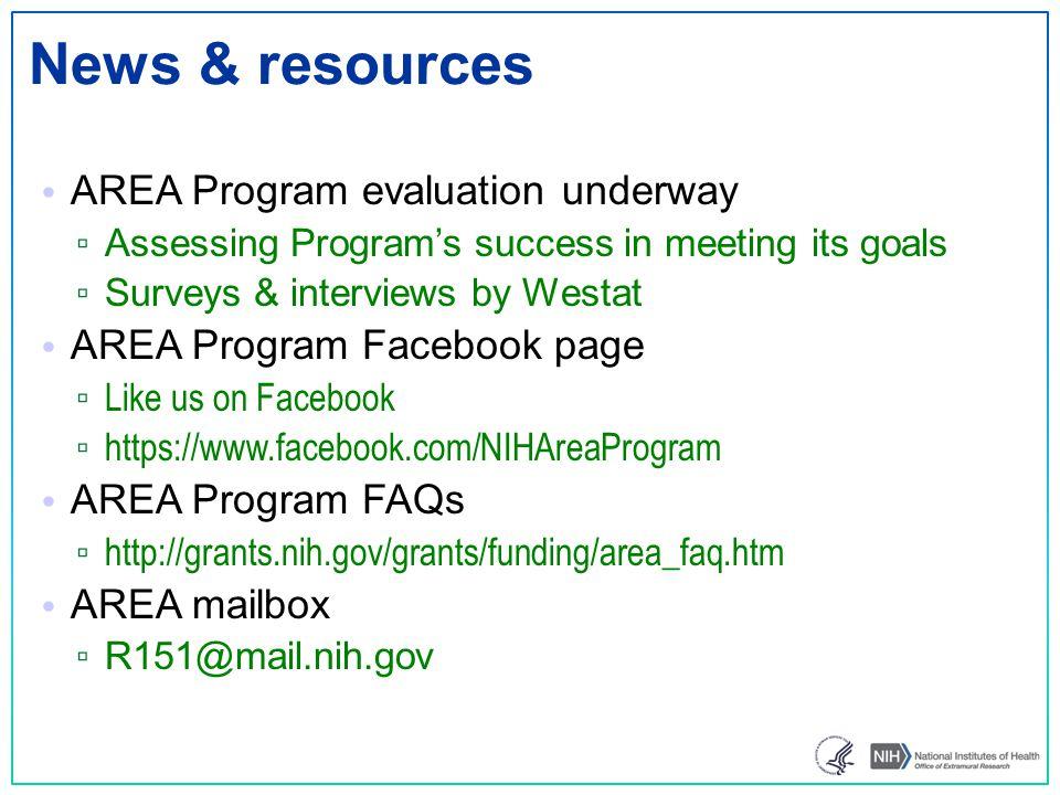News & resources AREA Program evaluation underway