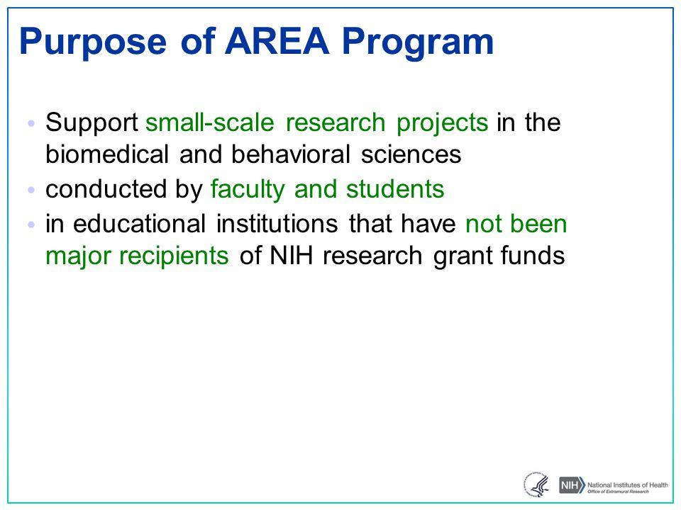 Purpose of AREA Program