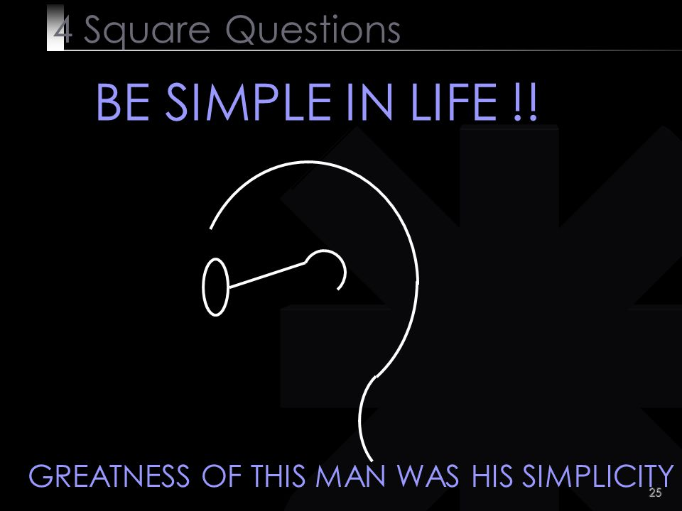 BE SIMPLE IN LIFE !! 4 Square Questions