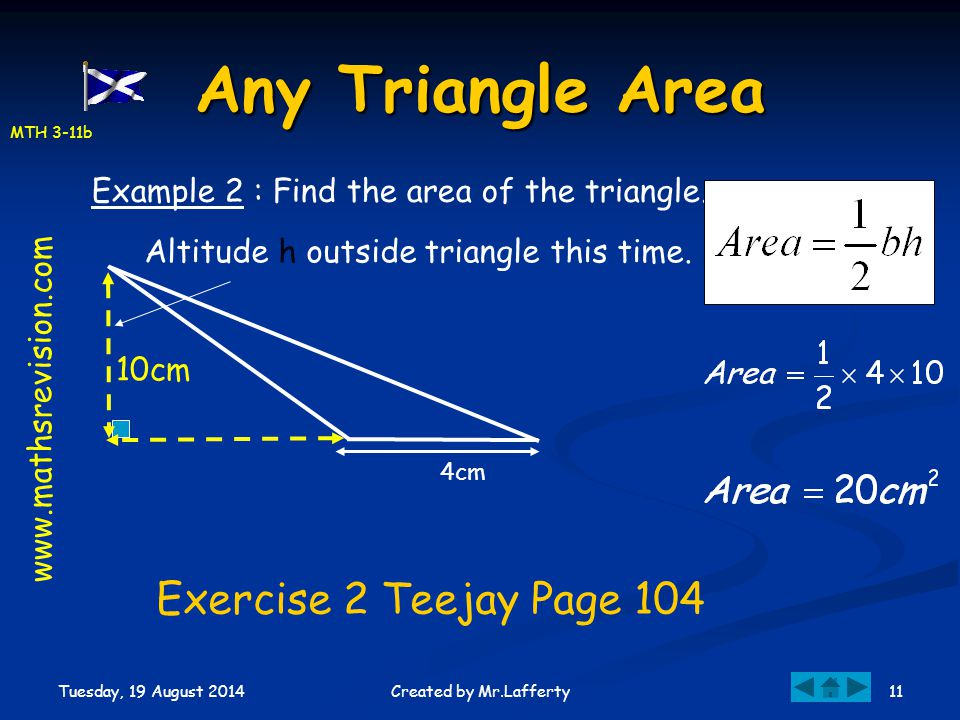 Any Triangle Area Exercise 2 Teejay Page 104