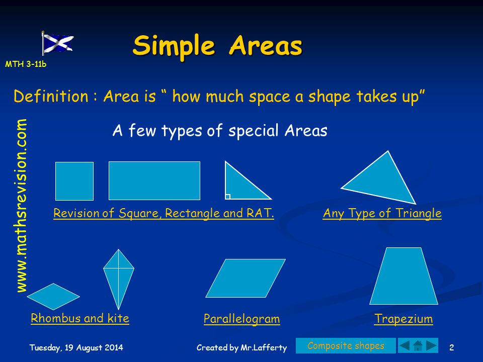 Simple Areas Definition : Area is how much space a shape takes up