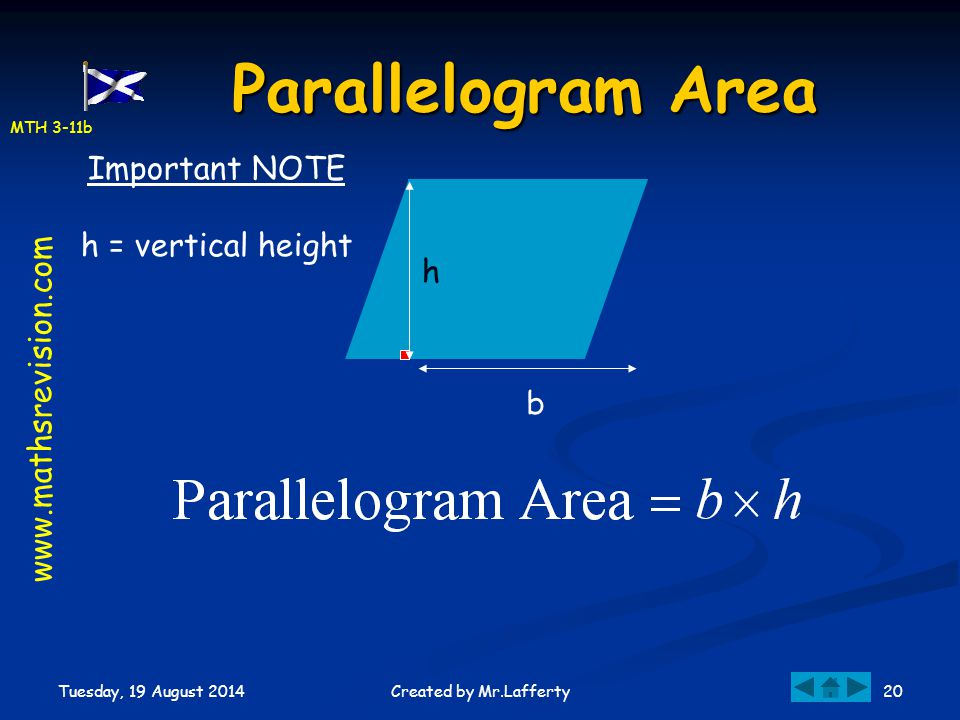 Parallelogram Area Important NOTE h = vertical height h
