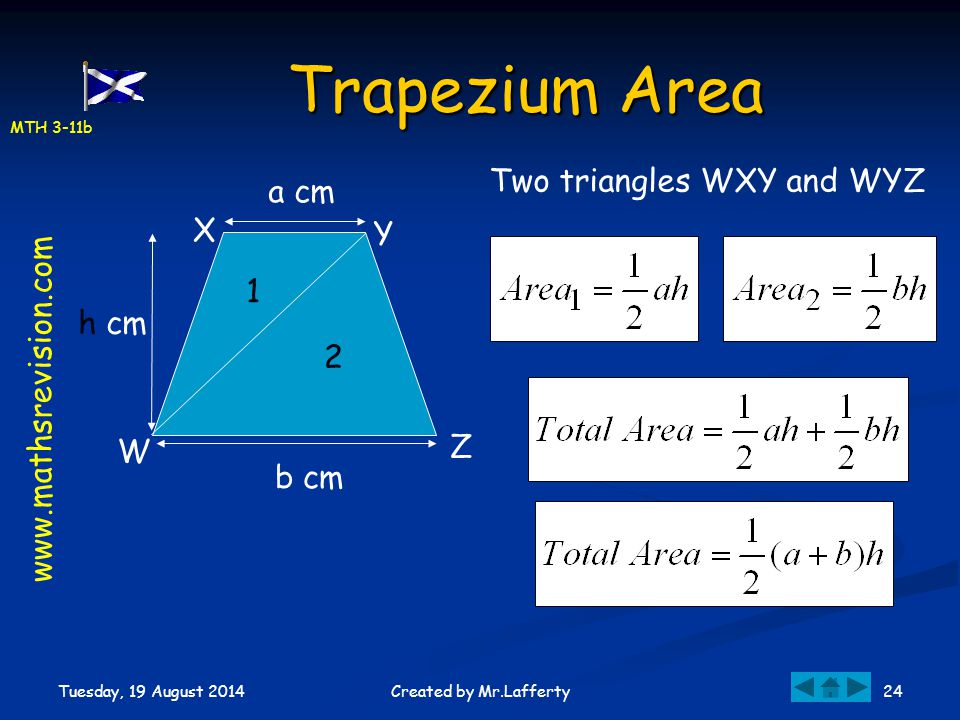 Trapezium Area Two triangles WXY and WYZ a cm X Y 1 h cm