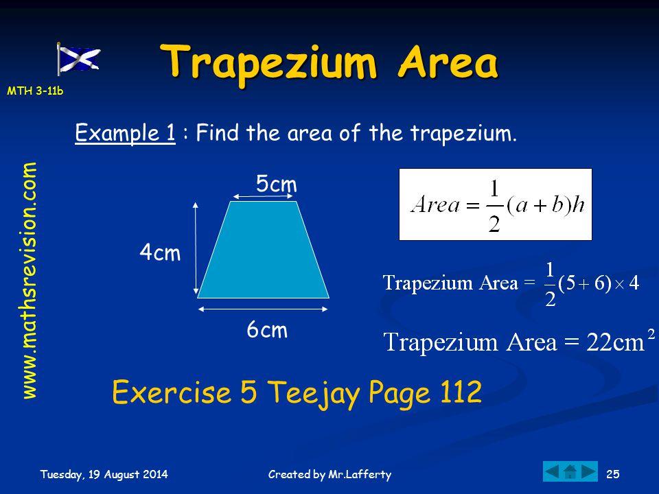 Trapezium Area Exercise 5 Teejay Page 112