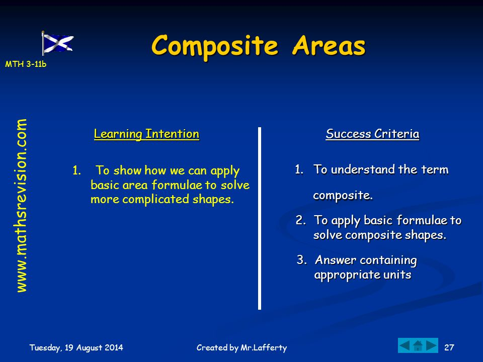 Composite Areas www.mathsrevision.com Learning Intention