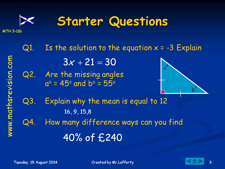 Starter Questions Q1. Is the solution to the equation x = -3 Explain