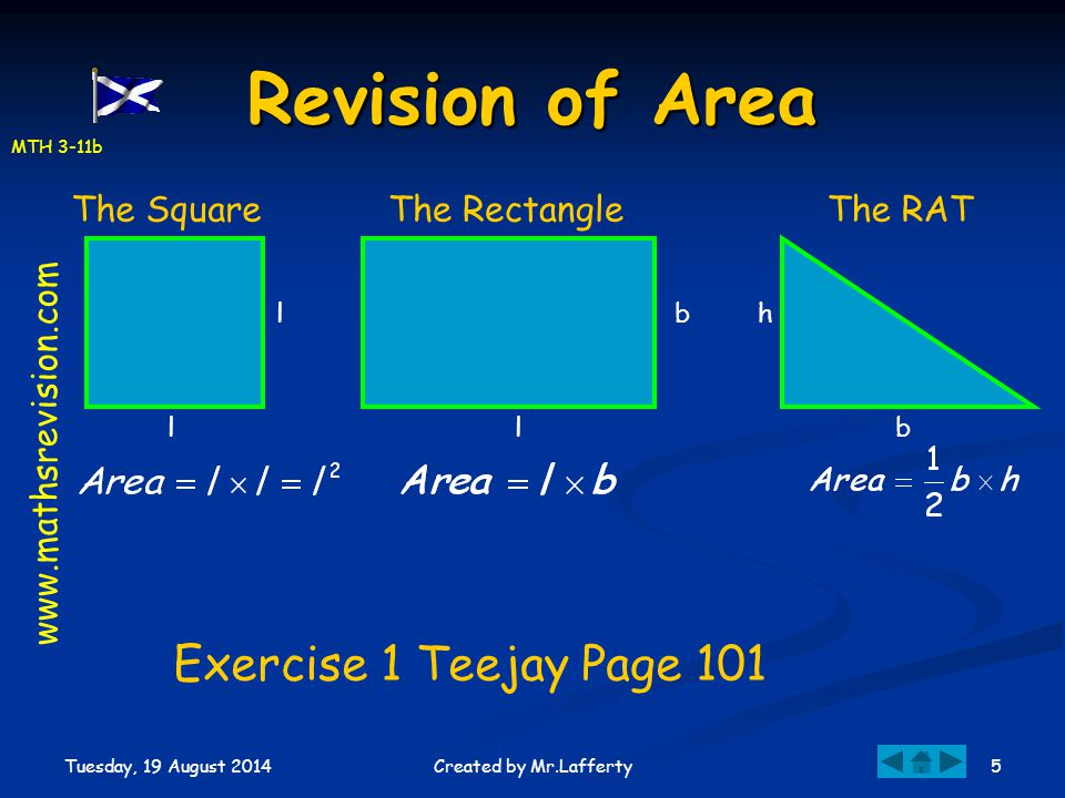 Revision of Area Exercise 1 Teejay Page 101 The Square The Rectangle