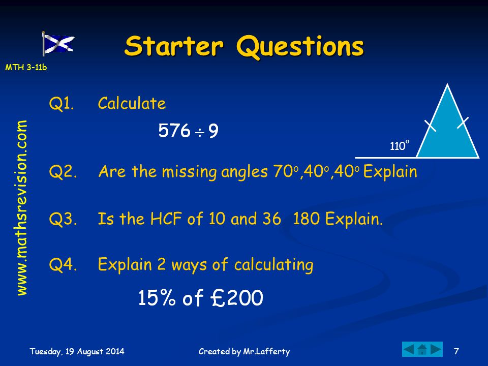 Starter Questions Q1. Calculate www.mathsrevision.com