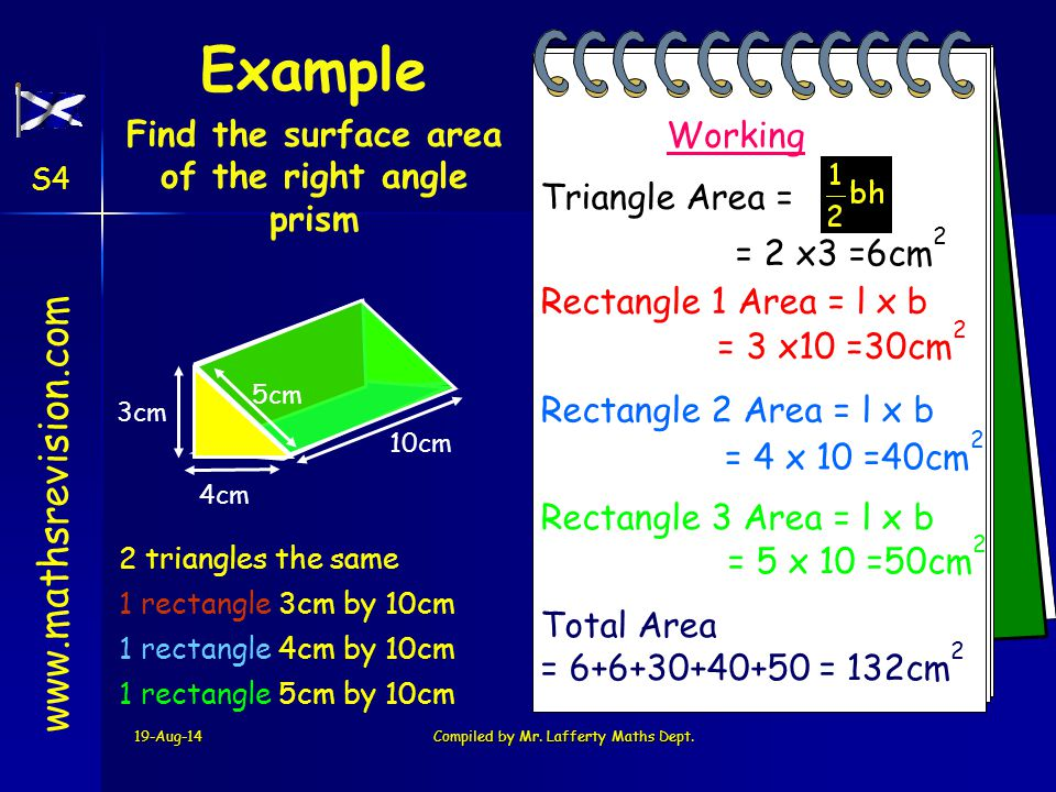 Find the surface area of the right angle prism