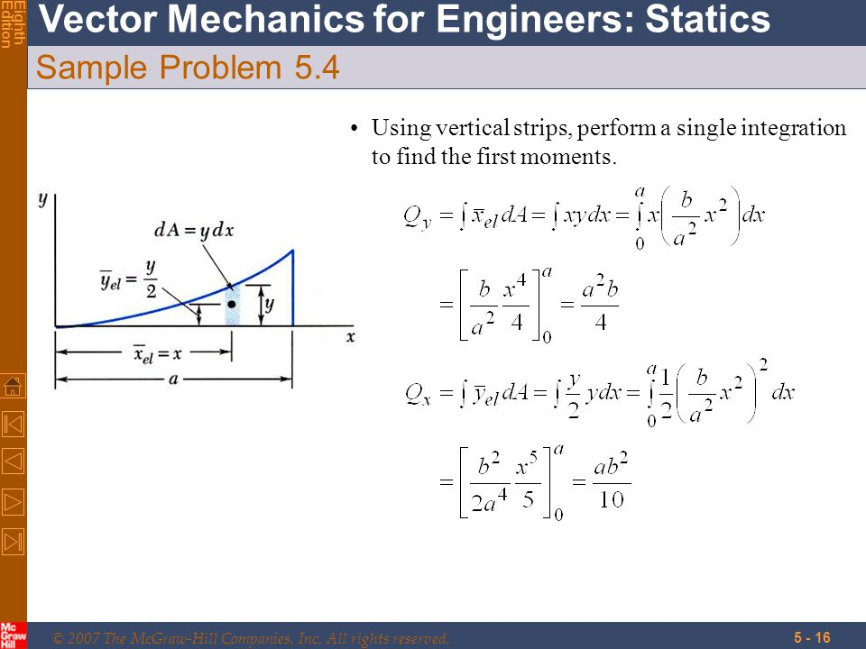 Sample Problem 5.4 Using vertical strips, perform a single integration to find the first moments.