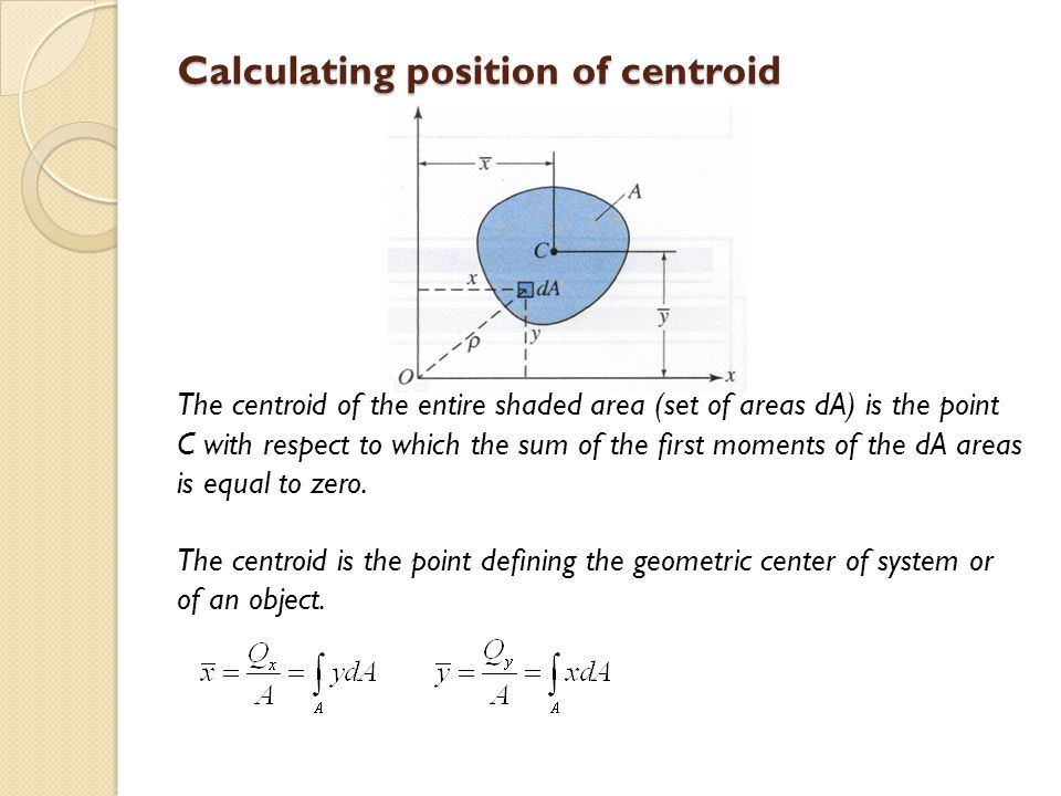 Calculating position of centroid
