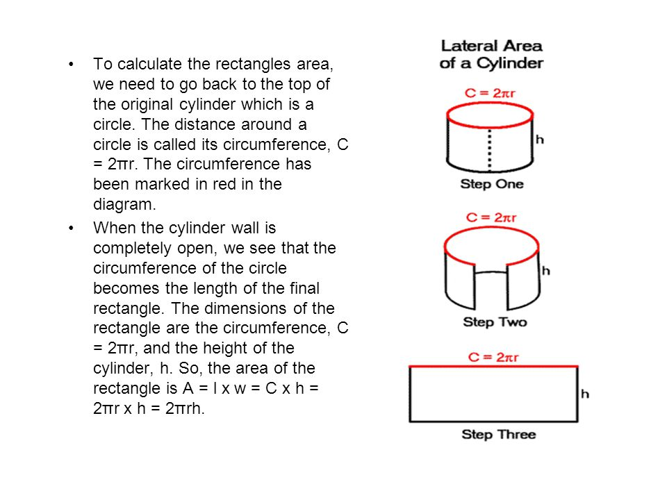 To calculate the rectangles area, we need to go back to the top of the original cylinder which is a circle. The distance around a circle is called its circumference, C = 2πr. The circumference has been marked in red in the diagram.