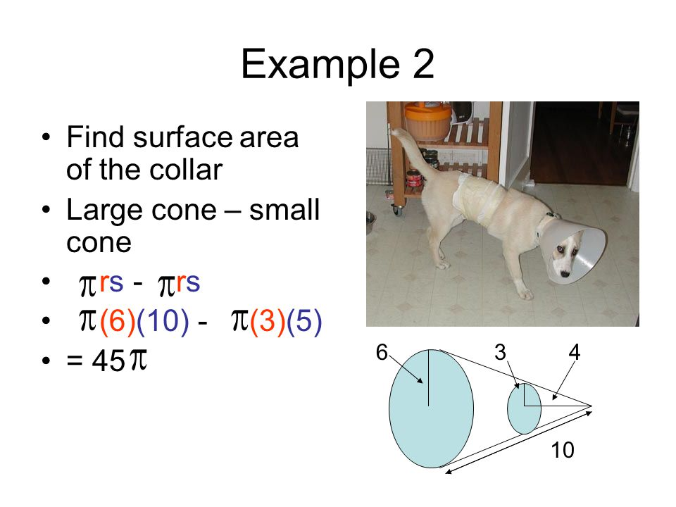 Example 2 Find surface area of the collar Large cone – small cone