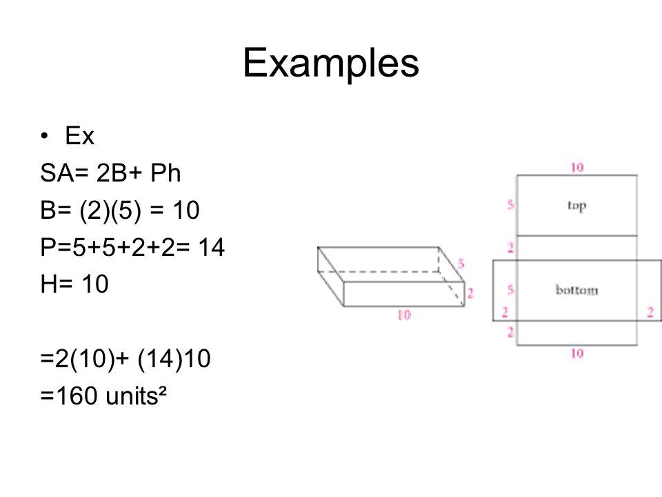 Examples Ex SA= 2B+ Ph B= (2)(5) = 10 P=5+5+2+2= 14 H= 10