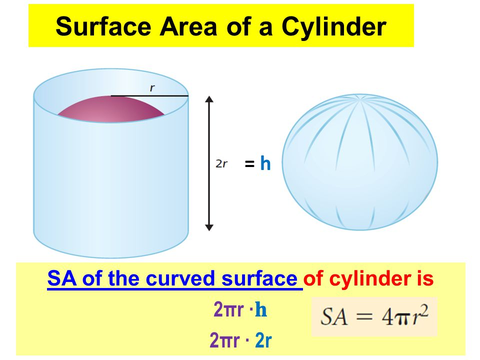 Surface Area of a Cylinder SA of the curved surface of cylinder is