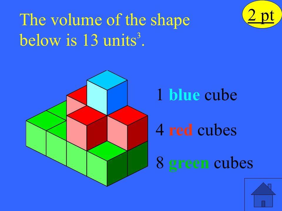 The volume of the shape below is 13 units3.