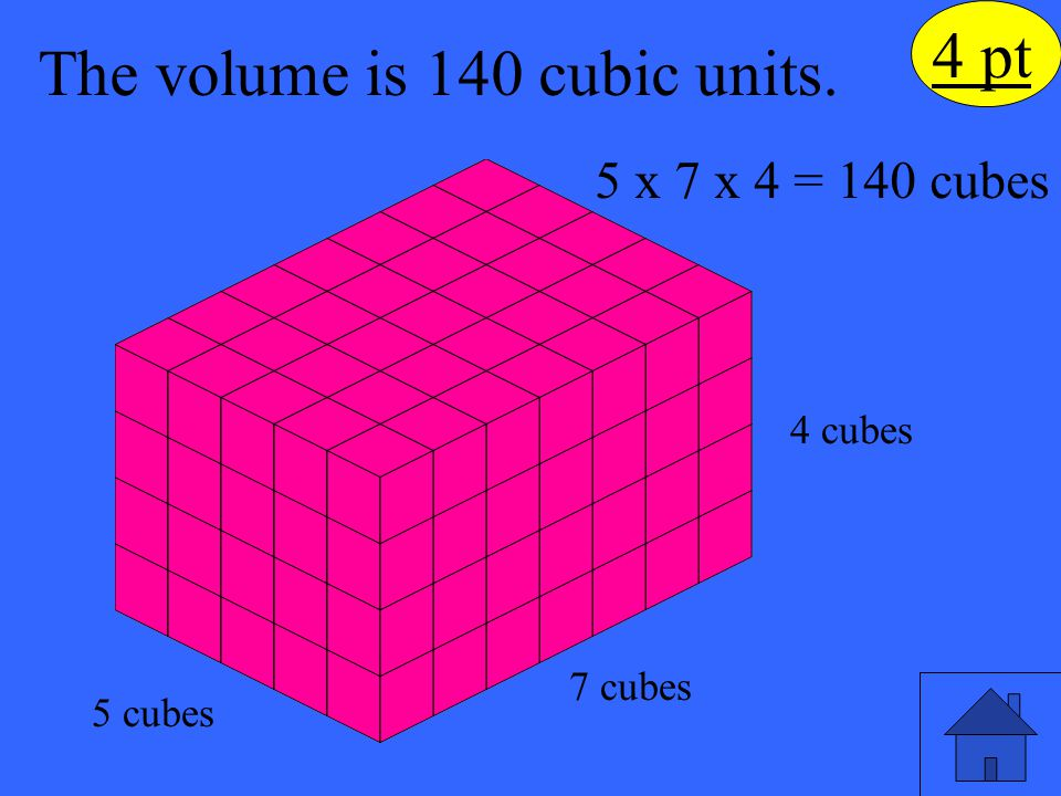 The volume is 140 cubic units.