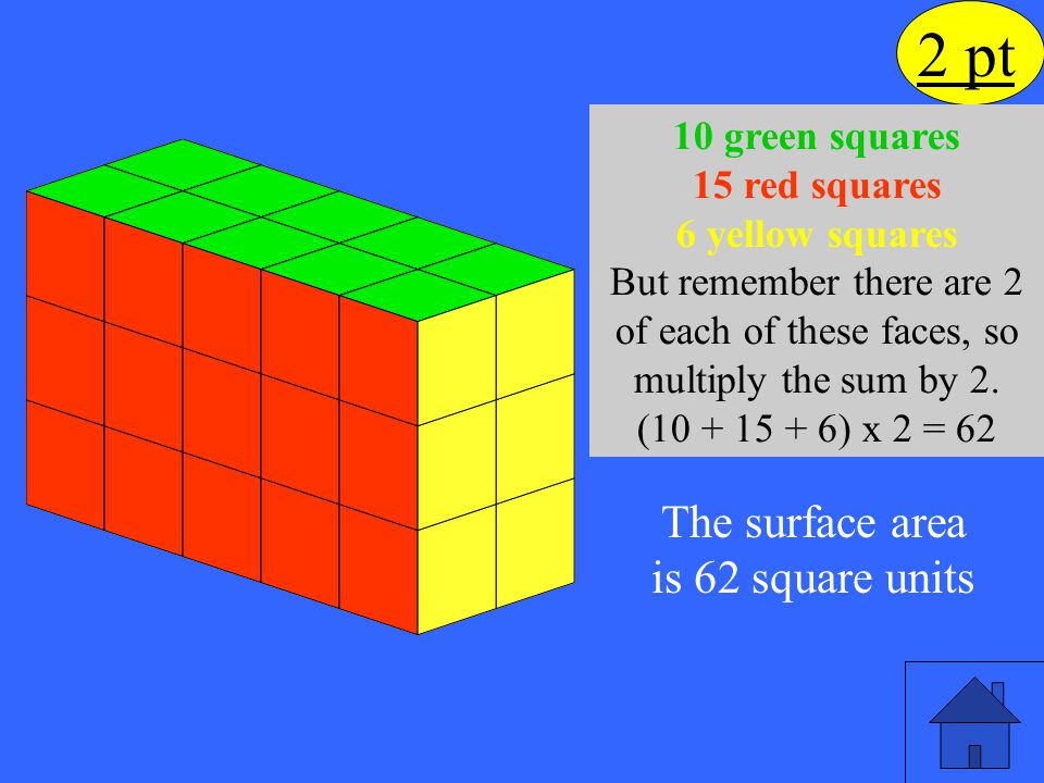 The surface area is 62 square units