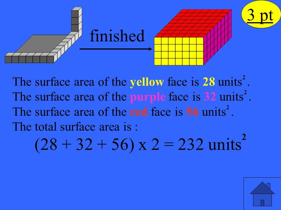 3 pt finished (28 + 32 + 56) x 2 = 232 units2