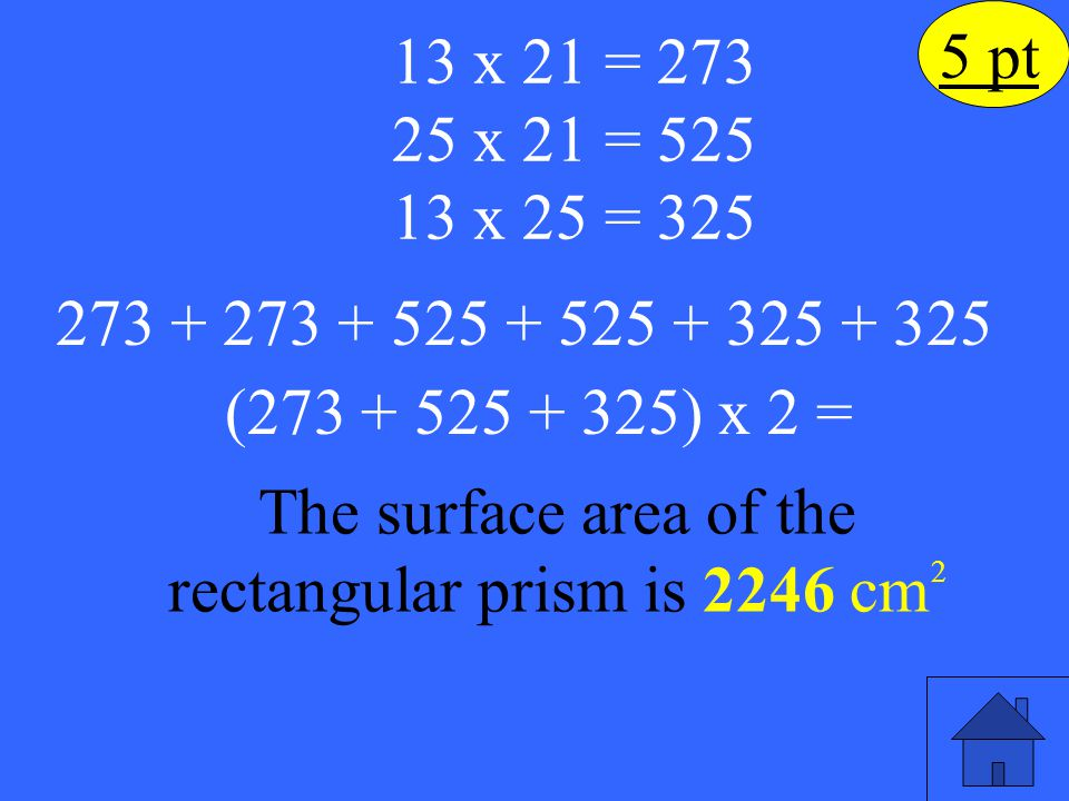The surface area of the rectangular prism is 2246 cm2