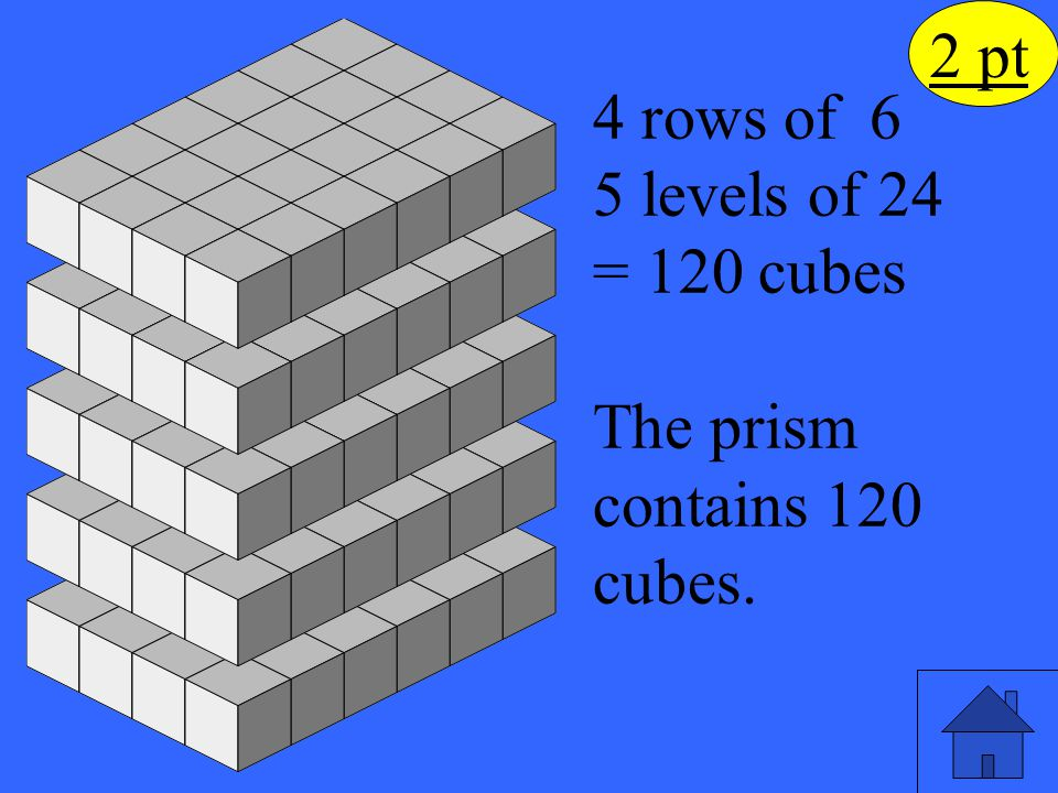 The prism contains 120 cubes.