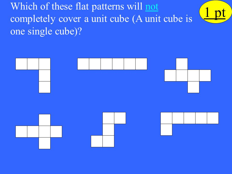 Which of these flat patterns will not completely cover a unit cube (A unit cube is one single cube)