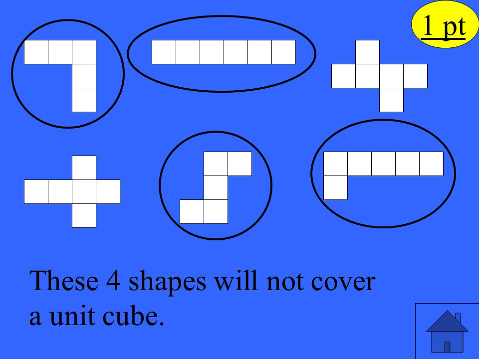 These 4 shapes will not cover a unit cube.