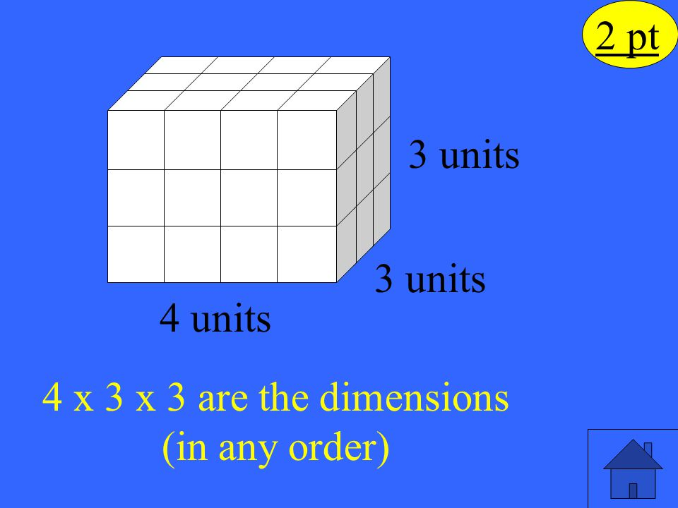 4 x 3 x 3 are the dimensions (in any order)