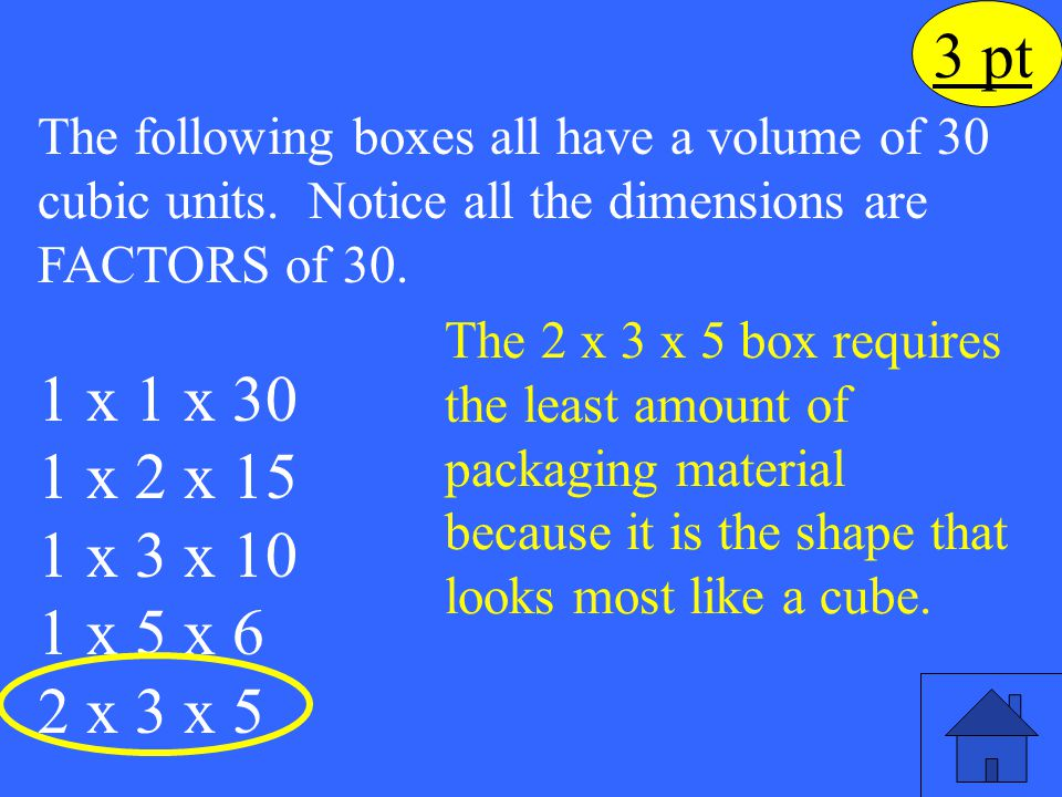 Eleanor M. Savko 4/5/2017. 3 pt. The following boxes all have a volume of 30 cubic units. Notice all the dimensions are FACTORS of 30.