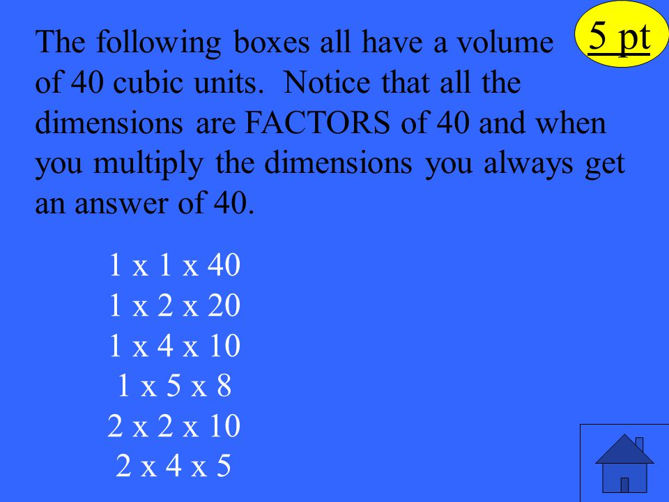 5 pt The following boxes all have a volume