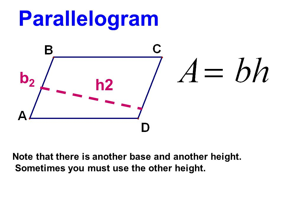 Parallelogram b2. h2. Note that there is another base and another height.