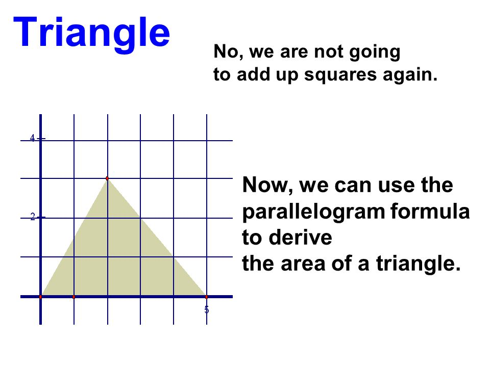 Triangle Now, we can use the parallelogram formula to derive