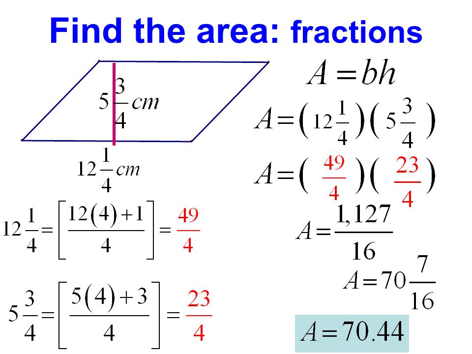 Find the area: fractions