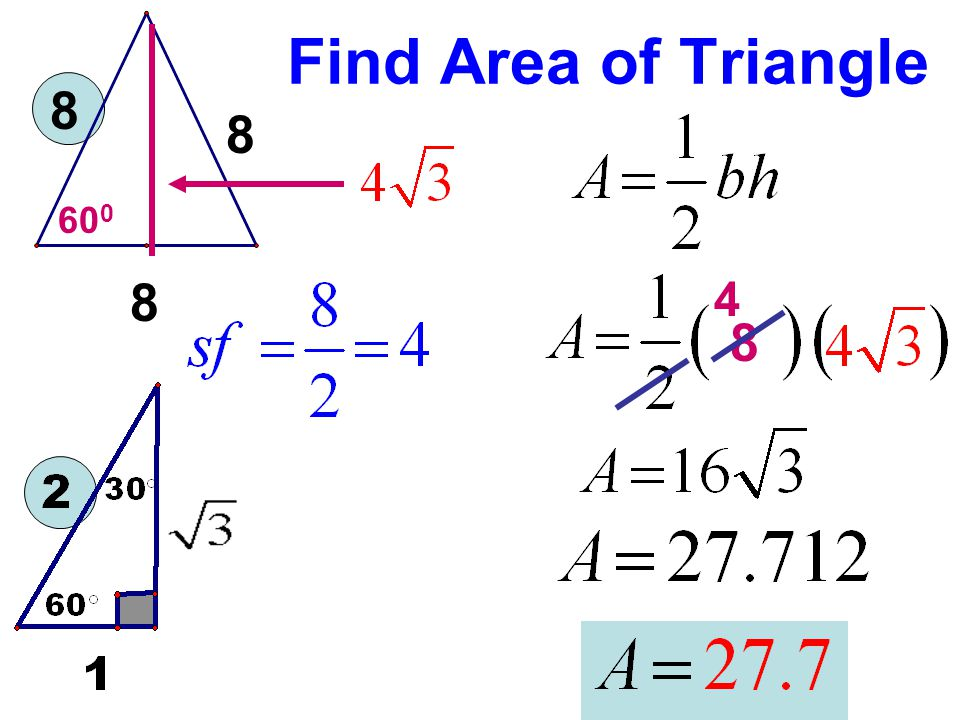 Find Area of Triangle 8 8 600 8 4 8