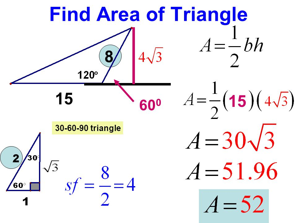 Find Area of Triangle 8 15 15 600 30-60-90 triangle