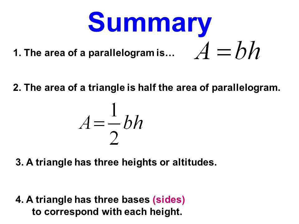 Summary 1. The area of a parallelogram is…