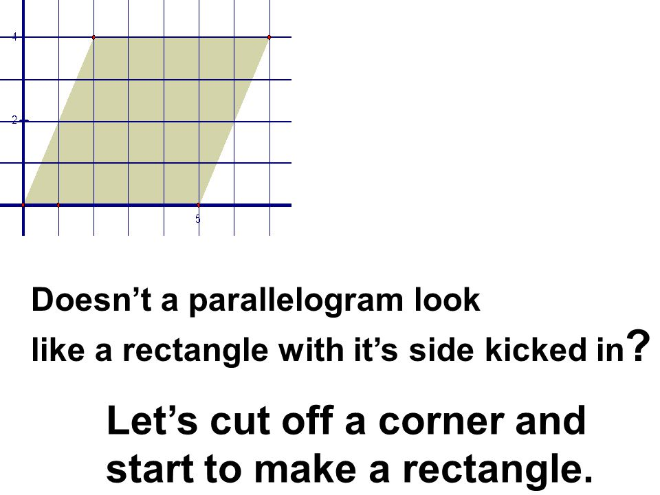 Let's cut off a corner and start to make a rectangle.