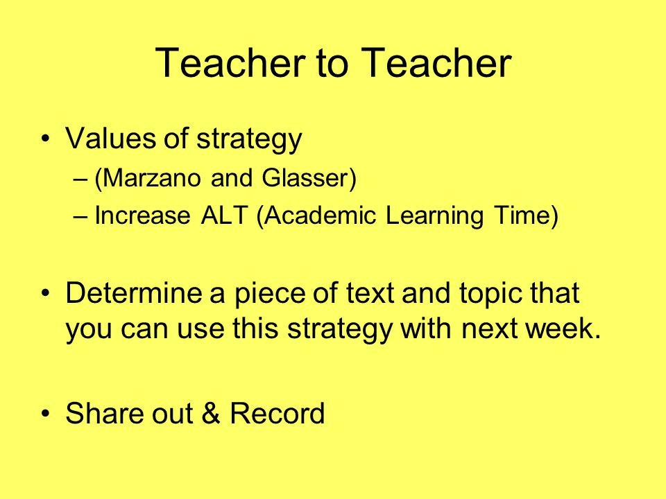 Teacher to Teacher Values of strategy