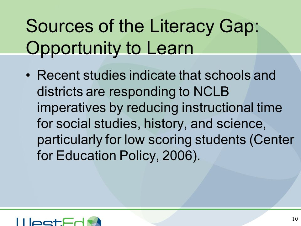 Sources of the Literacy Gap: Opportunity to Learn