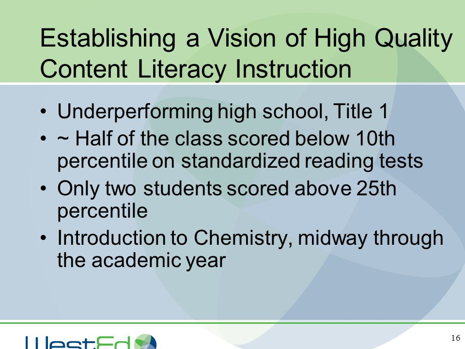 Establishing a Vision of High Quality Content Literacy Instruction