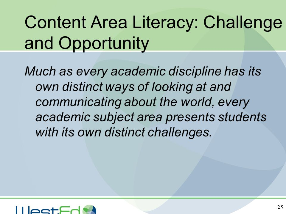 Content Area Literacy: Challenge and Opportunity