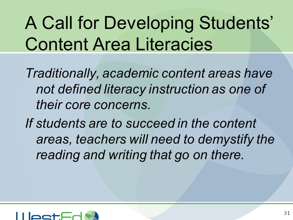 A Call for Developing Students' Content Area Literacies