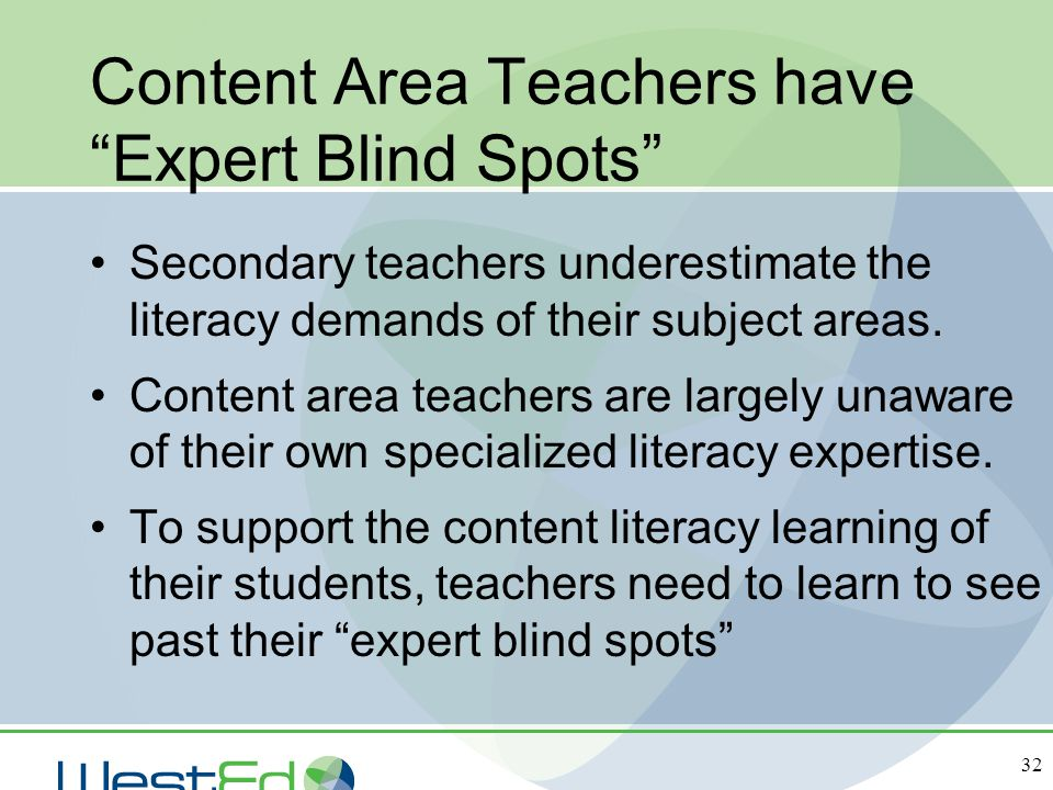 Content Area Teachers have Expert Blind Spots