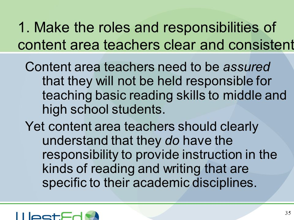 1. Make the roles and responsibilities of content area teachers clear and consistent.
