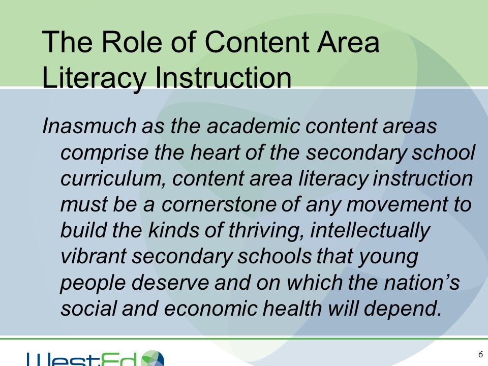 The Role of Content Area Literacy Instruction
