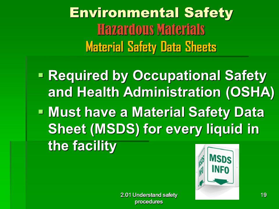 Environmental Safety Hazardous Materials Material Safety Data Sheets
